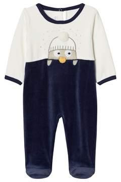 Absorba Navy and Cream Penguin Applique Velour Babygrow