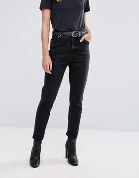 Cheap Monday High Rise Mom Jean in Washed Black