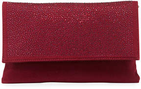 Neiman Marcus Crystal-Flap Flannel Clutch Bag on Chain Strap