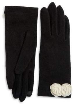 Portolano Open Sesame Rosette Cashmere-Blend Gloves