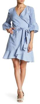 ECI Striped Bell Sleeve Faux Wrap Dress
