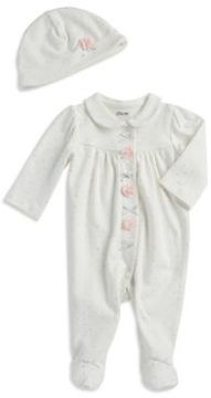 Little Me Baby Girl's Two-Piece Cotton Footie and Beanie Set