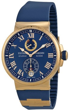Ulysse Nardin Marine Chronometer Blue Dial 18kt Rose Gold Men's Watch 1186-126-3-43