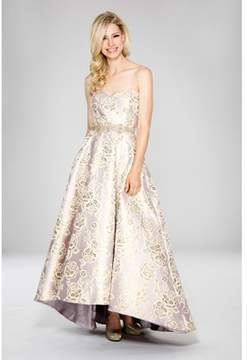 Cachet Sweetheart Neck Floral Brocade Gown..