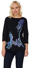 Bob Mackie Bob Mackie's Embroidered and Sequined Bird ofParadise Top