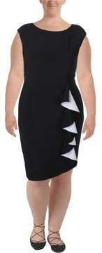 Vince Camuto Womens Two Tone Cascade Ruffle Cocktail Dress