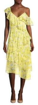 Alice + Olivia Olympia Floral Ruffle Midi Dress