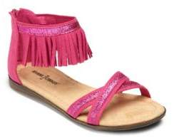 Minnetonka Kid's Izzy Glitter-Trimmed Fringed Suede Sandals