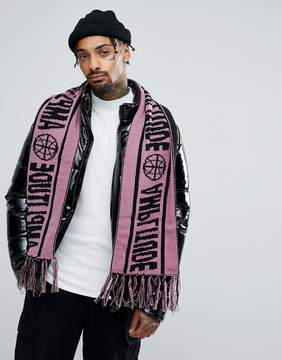 Asos Soccer Scarf In Lilac With Amplitude Slogan