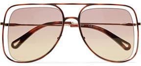 Chloé Poppy Square-frame Acetate And Gold-tone Sunglasses