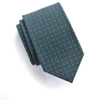 Drakes Drake's Silk Floral Tie in Dark Teal