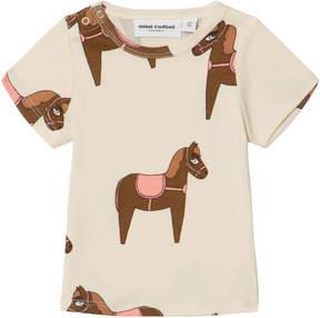 Mini Rodini Beige and Pink Horse T-Shirt
