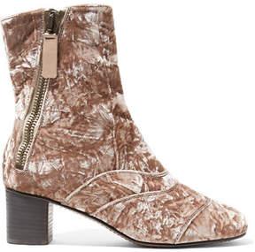 Chloé Lexie Crushed-velvet Ankle Boots - Antique rose