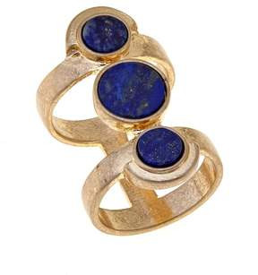 Danielle Nicole Wilderness Simulated Lapis 3-Stone Goldtone Circle Ring