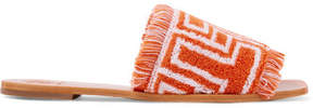 Tory Burch Logo-intarsia Terry Slides - Orange