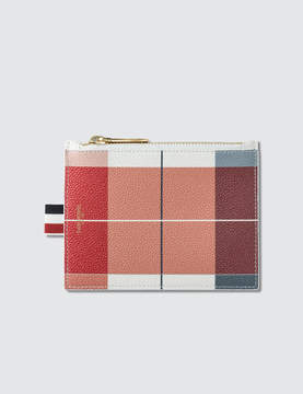Thom Browne Large Buffalo Check Printed Pebble Grain Leather Small Coin Purse (14.5 cm)