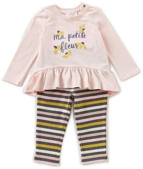 Kate Spade Baby Girls 12-24 Months Long-Sleeve Peplum Top & Striped Leggings Set
