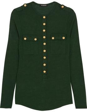 Balmain Button-detailed Wool And Silk-blend Jersey Top - Green
