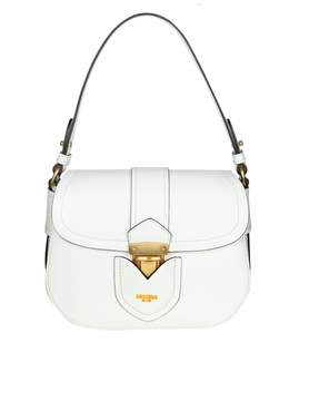 Moschino Shoulder Bag In Leather With Logo Color White