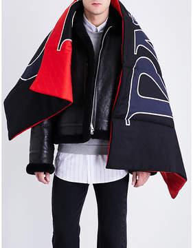 Balenciaga Logo silk-wool scarf