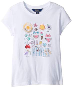 Polo Ralph Lauren Cotton Jersey Graphic T-Shirt Girl's Clothing