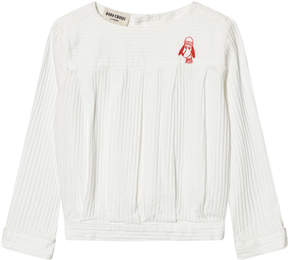 Bobo Choses White Loup Embroidered Pleated Blouse