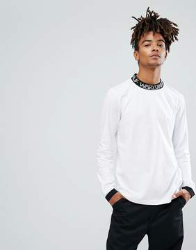 HUF Letras Long Sleeve T-Shirt With Contrast Logo Collar