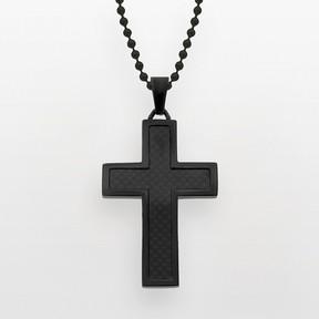 Lynx Stainless Steel Black Ion Cross Pendant - Men