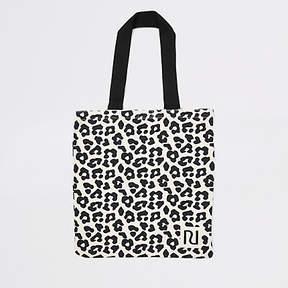 River Island Beige leopard print shopper tote bag