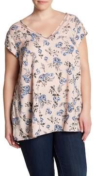 Daniel Rainn DR2 by Short Sleeve V-Neck Floral Print Blouse (Plus Size)