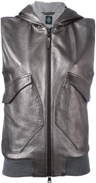 Eleventy sleeveless hooded jacket