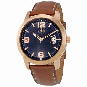 GUESS District Blue Dial Men's Leather Watch W0494G2