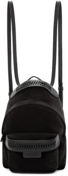 Stella McCartney Black Velvet Mini Falabella GO Backpack
