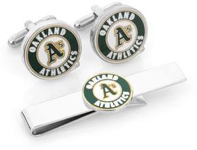 Ice Oakland A's Cufflinks and Tie Bar Gift Set