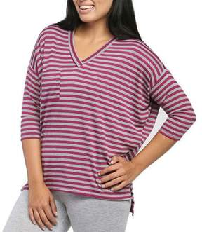 24/7 Comfort Apparel Women's Magneta Striped Dolman Top