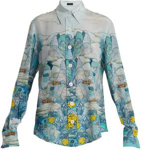 Joseph New Garcon point-collar landscape-print shirt