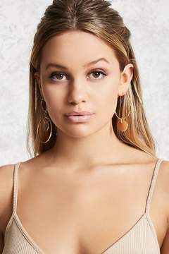 Forever 21 Geo Cut Hoop Drop Earrings