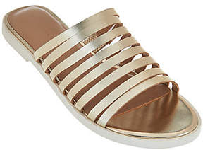 Halston H by Strappy Leather Flat Slide - Cora