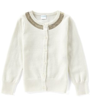 Edgehill Collection Little Girls 2T-6X Sequin Button-Front Sweater