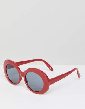 Asos Oval Sunglasses in Red