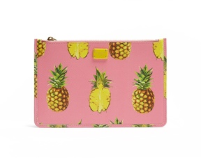 Dolce & Gabbana Pineapple-print leather pouch - PINK MULTI - STYLE