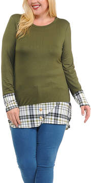 Celeste Olive Plaid-Trim Button-Accent Tunic - Plus