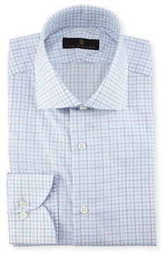Ike Behar Check Dress Shirt, Blue/White/Green