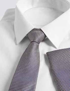 Marks and Spencer Pure Silk Textured Tie & Pocket Square Set