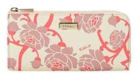 Furla Floral Leather Zip-Around Wallet