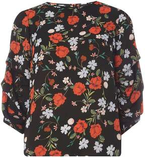 Dorothy Perkins Blue and Red Floral Print Top