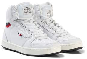 Tommy Hilfiger White Branded Lace Leather Hi-Top Trainers