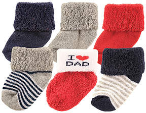 Luvable Friends White & Red 'I Heart Dad' Six-Pair Socks Set - Infant