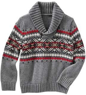 Osh Kosh Toddler Boy Fairisle Pullover Shawl Sweater