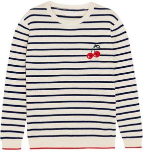 Chinti and Parker Cherry Breton Striped Cashmere Sweater - Cream
